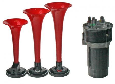 3-tónová fanfára červená s kompresorem