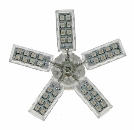 LED vějíř 12V s paticí BA 15S bílý, 55LED/SMD