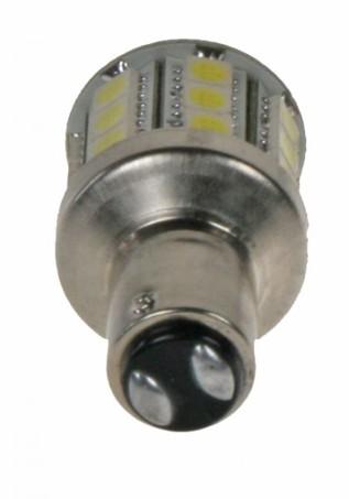 LED žárovka 12V s paticí BAY 15d(dvouvlákno) červená, 28LED/3SMD