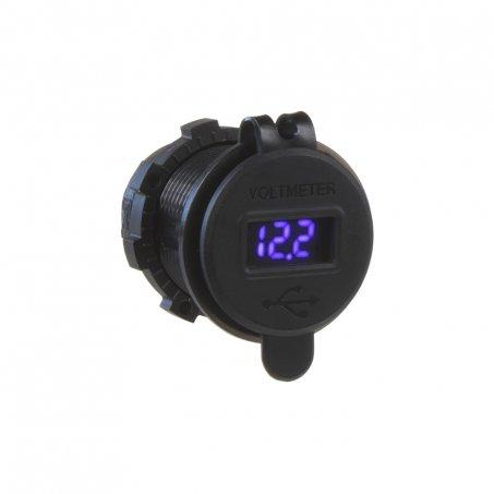 2x USB nabíječka s voltmetrem voděodolná do panelu, modré