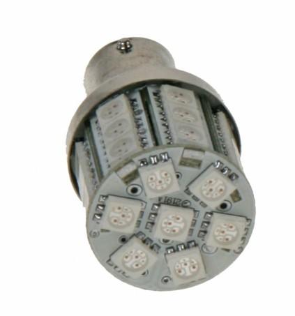 LED žárovka 12V s paticí BA 15s červená, 28LED/3SMD