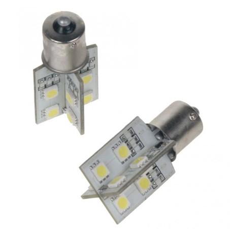 LED žárovka 12V s paticí BA 15s bílá, 16LED/3SMD