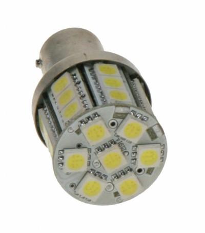 LED žárovka 12V s paticí BA 15s bílá, 28LED/3SMD