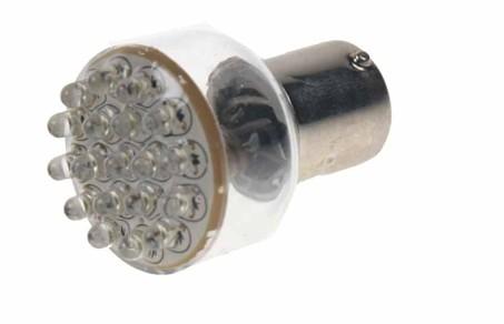 LED žárovka 12V s paticí BA 15s bílá, 19LED