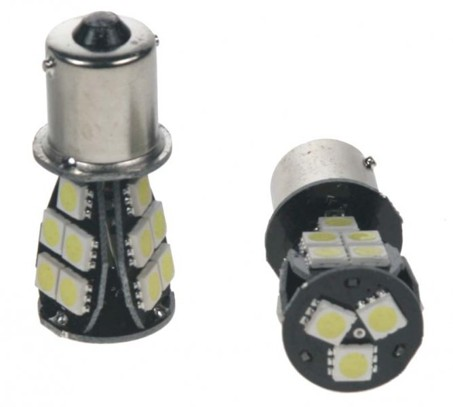 LED žárovka 12V s paticí BA 15s bílá, 18LED/3SMD