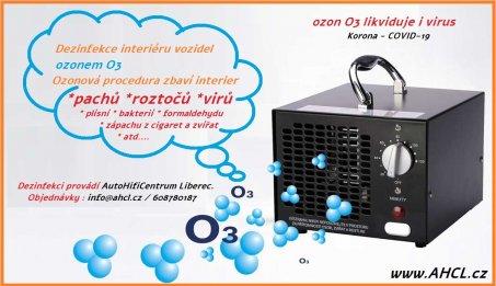 Čištění interieru vozidel ozonem O3