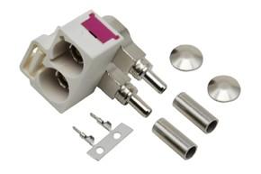 Anténní konektor dvojitý FAKRA samice 90° bílá