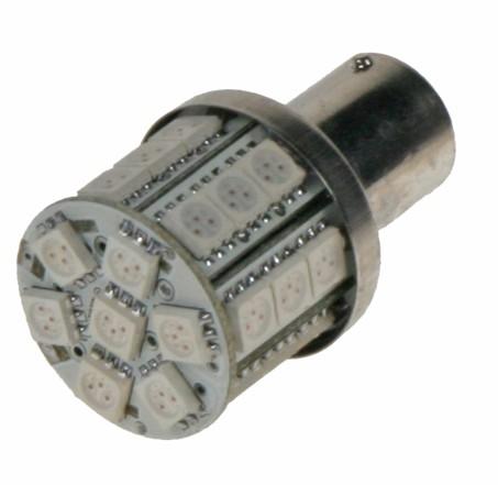 LED žárovka 12V s paticí BAU 15s oranžová, 28LED/3SMD