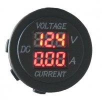 Digitální ampérmetr a voltmetr 6-30V červený