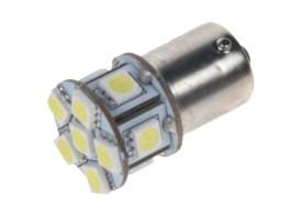 LED žárovka 12V s paticí BAU 15S bílá, 11LED/3SMD