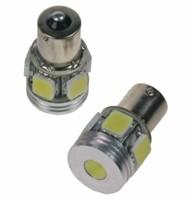 LED žárovka 12V s paticí BAU 15S červená, 5LED/6w