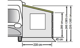 BOČNÍ ZÁSTĚNA 230x220cm PRO OBYTNÉ VOZY S OKNEM univerzální / FIAMMA / OMNISTOR