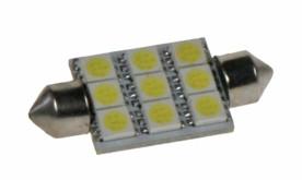 LED žárovka 12V s paticí sufit(39mm) bílá, 9LED/3SMD