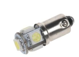 LED žárovka 24V s paticí BA 9s bílá, 5LED/3SMD