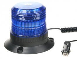 Zábleskový maják, 12-110V, modrý magnet, ECE R10