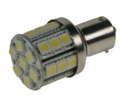 LED žárovka 12V s paticí BAU 15s bílá, 28LED/3SMD